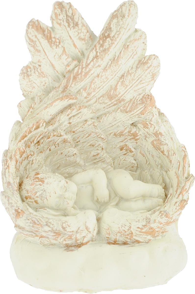 Фигурка декоративная Magic Home Малыш ангел, цвет: слоновая кость, золотой, 10,5 х 7,4 х 5 см цена