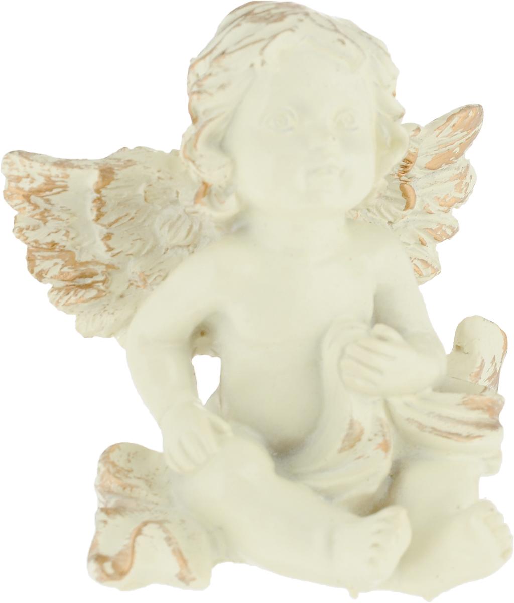Фигурка декоративная Magic Home Мечтательный ангел, цвет: слоновая кость, золотой, 8,2 х 7 х 4,6 см цена