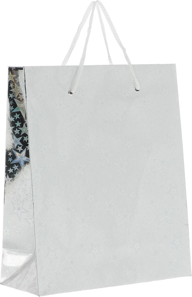 Пакет подарочный Magic Home Серебряный глянец, 19 x 22 x 8 см76563Подарочный пакет Magic Home, изготовленный из плотной бумаги, станет незаменимым дополнением к выбранному подарку. Дно изделия укреплено картоном, который позволяет сохранить форму пакета и исключает возможность деформации дна под тяжестью подарка. Пакет выполнен с глянцевой ламинацией, что придает ему прочность, а изображению - яркость и насыщенность цветов. Для удобной переноски имеются две ручки в виде шнурков.
