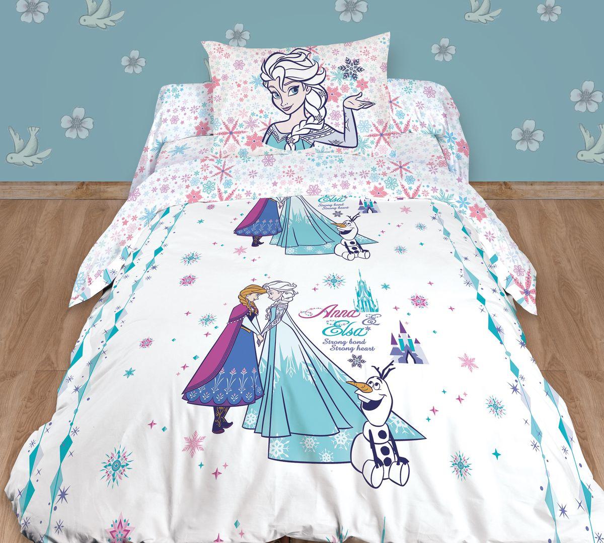 """Комплект белья детский """"Disney"""", 1,5-спальный, наволочки 50х70, цвет: белый"""