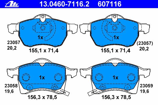 Колодки тормозные дисковые Ate 13046071162, передние все цены