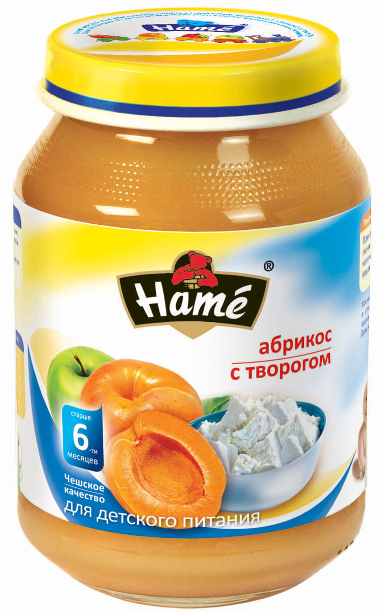 Hame абрикос с творогом фруктовое пюре, 190 г