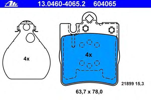 Колодки тормозные дисковые Ate 13046040652, задние колодки тормозные ferodo premier дисковые fdb1621