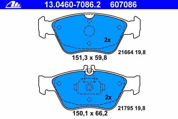 Колодки тормозные дисковые Ate 13046070862, передние