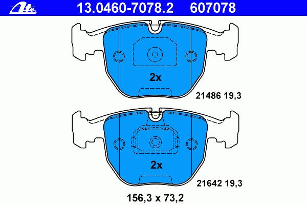 Тормозные колодки дисковые Ate 13046070782 колодки тормозные дисковые ate 13046070792