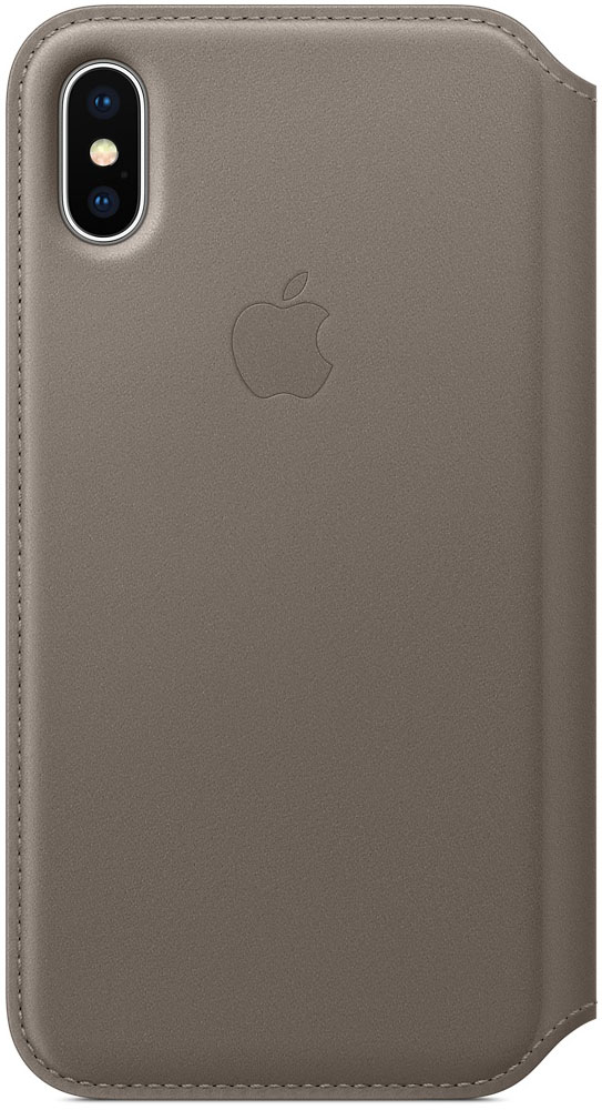 Apple Leather Folio чехол для iPhone X, Taupe