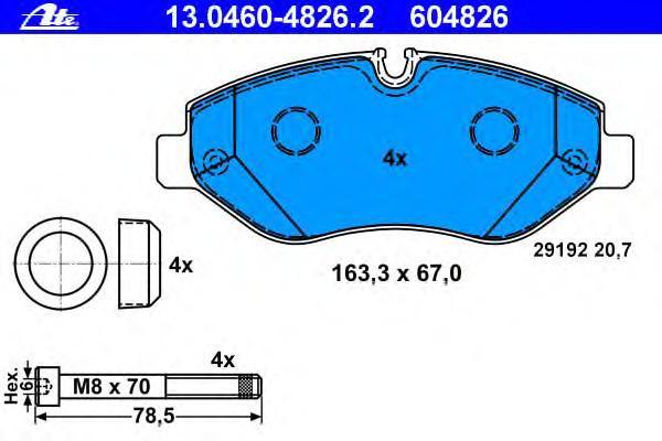 Колодки тормозные дисковые Ate 13046048262, передние колодки тормозные ferodo premier дисковые fdb1621