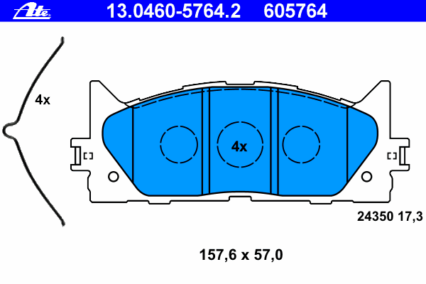 Тормозные колодки дисковые Ate 13046057642 колодки тормозные дисковые ate 13046070792
