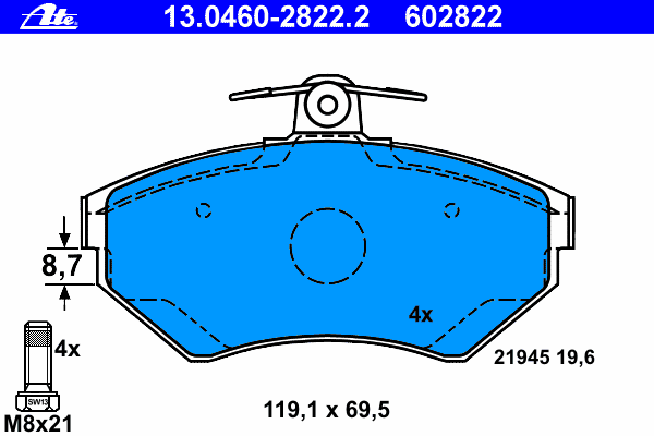 Тормозные колодки дисковые Ate 13046028222 колодки тормозные дисковые ate 13046070792