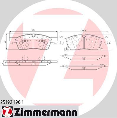 Тормозные колодки дисковые Zimmermann 251921901, передние, все цены