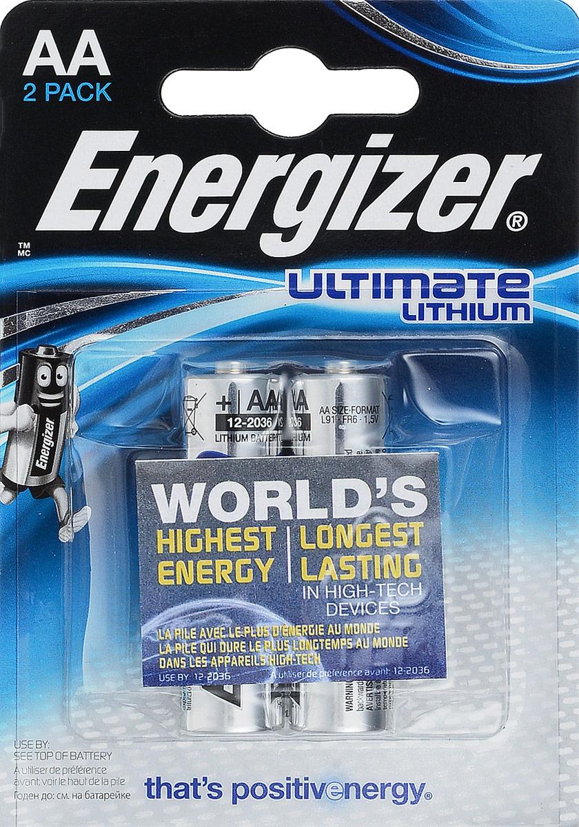 Батарейка литиевая ENERGIZER Ultim Lithium, тип АА, 2 шт батарейка aa energizer ultimate lithium l91 fr6 2 штуки