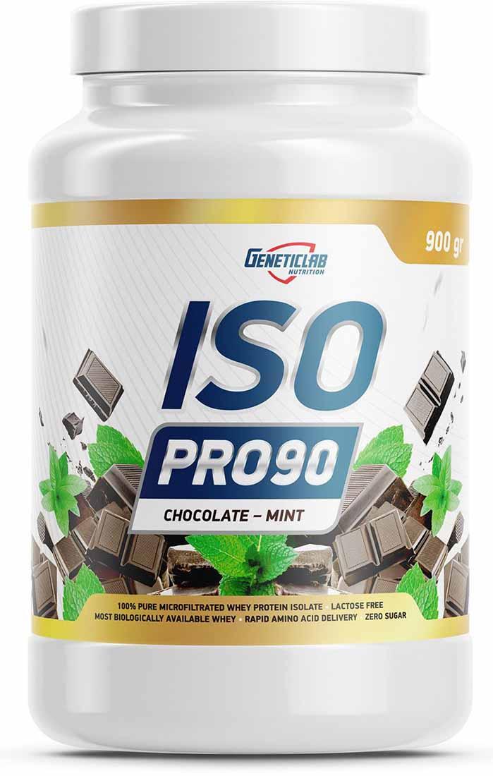 Изолят Geneticlab Nutrition Iso Pro 90, шоколад и мята, 900 г изолят geneticlab nutrition iso pro 90 апельсин 900 г