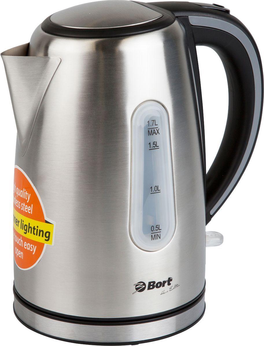 лучшая цена Электрический чайник Bort BWK-2117M, Grey Metallic