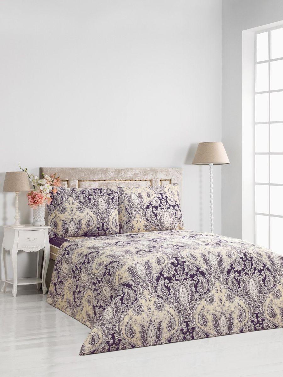 """Комплект постельного белья Сlassic by T """"Римини"""", 2-спальный, наволочки 50x70, цвет: фиолетовый, бежевый"""