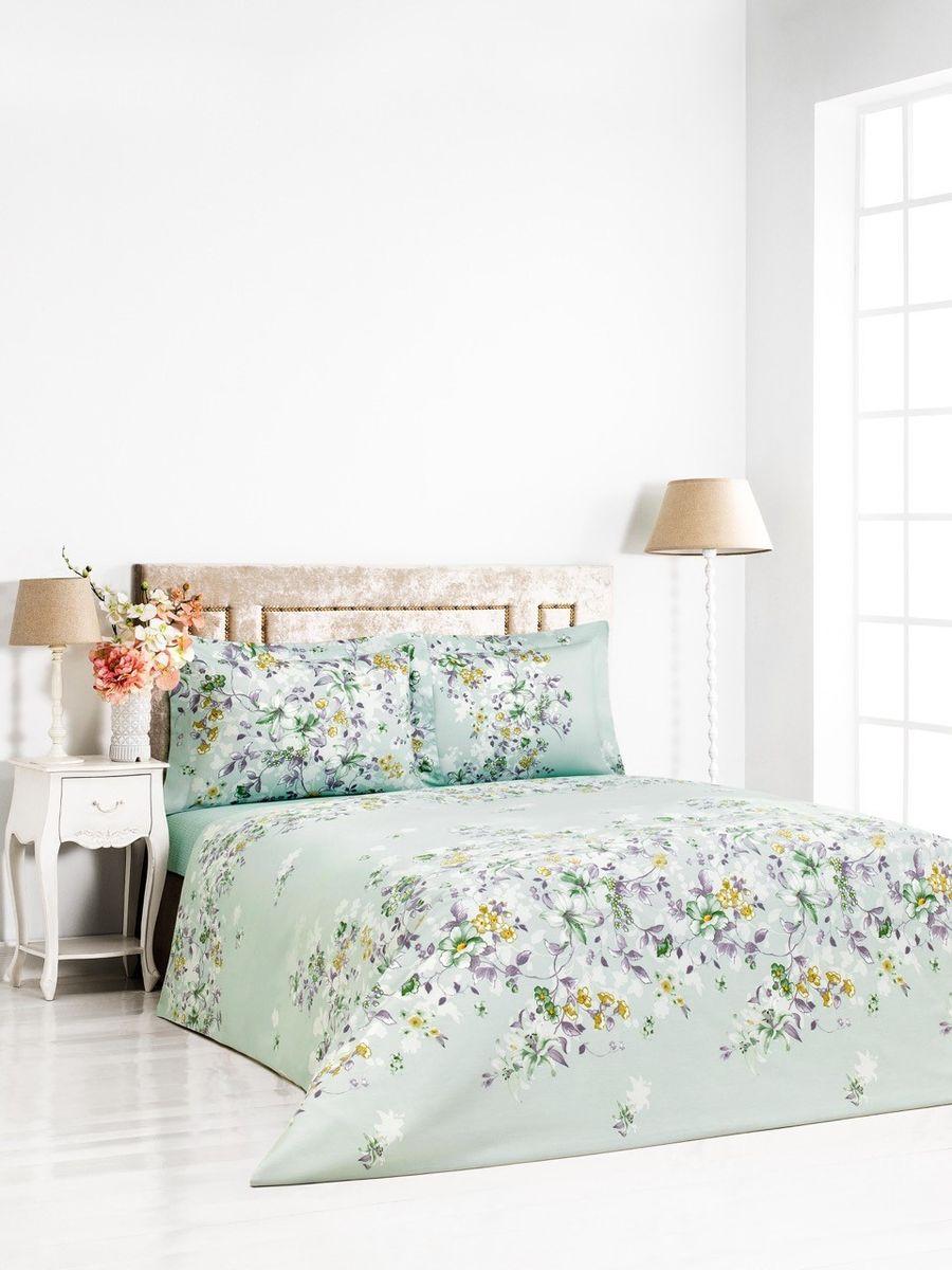 """Комплект постельного белья Сlassic by T """"Тенея"""", 2-спальный, наволочки 50x70, цвет: мятный, сиреневый"""