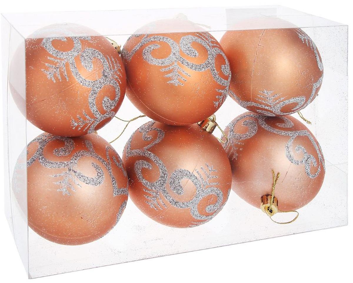 набор новогодних подвесных украшений sima land красная вставка клетка диаметр 8 см 4 шт Набор новогодних подвесных украшений Sima-land Рай. Цветочный узор, диаметр 8 см, 6 шт