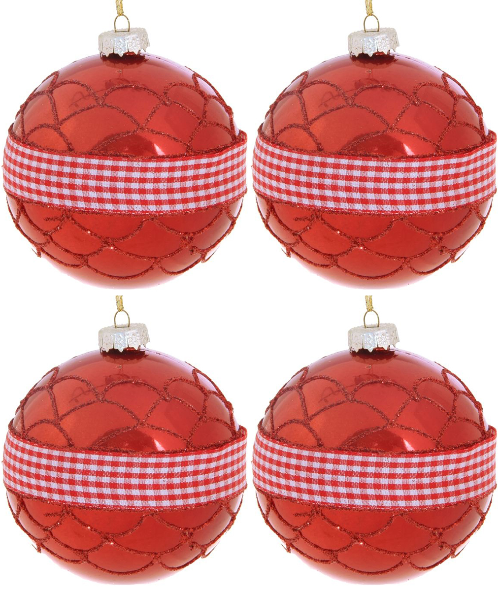 Набор новогодних подвесных украшений Sima-land Красная вставка. Клетка, диаметр 8 см, 4 шт набор новогодних подвесных украшений sima land гранд елочка диаметр 8 см 6 шт