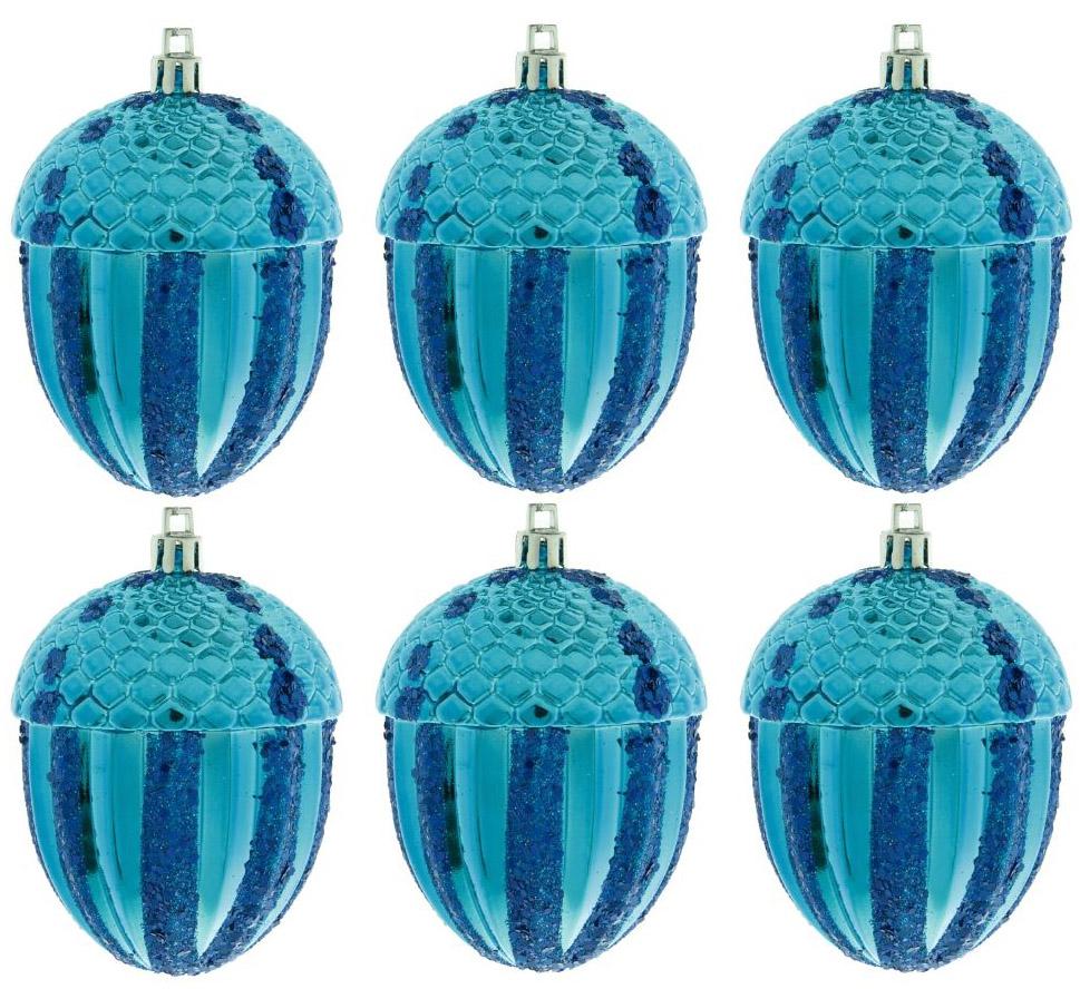 Набор новогодних подвесных украшений Sima-land Желудь, 7 см, 6 шт набор новогодних подвесных украшений sima land гранд елочка диаметр 8 см 6 шт