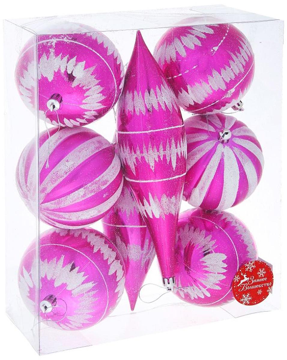 Набор новогодних подвесных украшений Sima-land Гигант с сосулькой, диаметр 10 см, 8 шт набор новогодних подвесных украшений sima land гранд елочка диаметр 8 см 6 шт