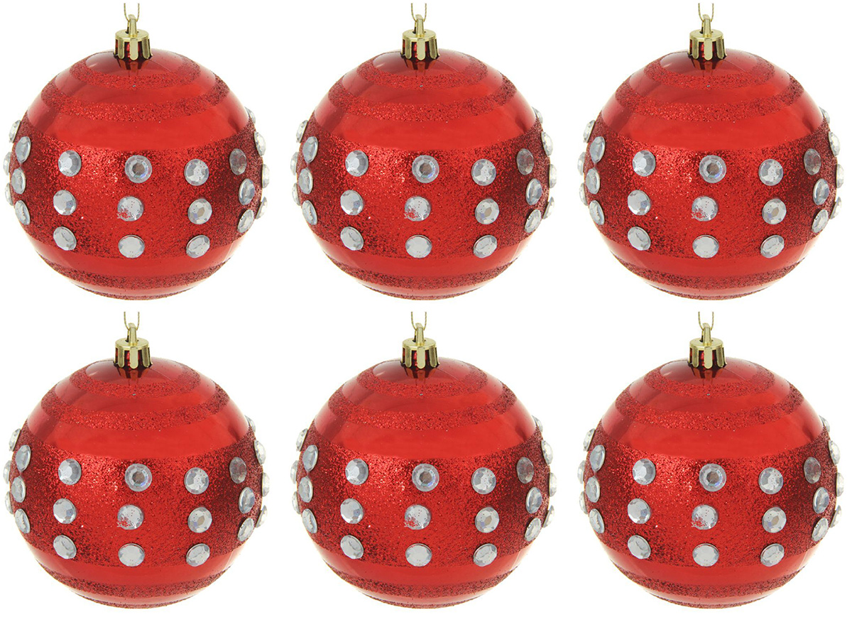 набор новогодних подвесных украшений sima land красная вставка клетка диаметр 8 см 4 шт Набор новогодних подвесных украшений Sima-land Красная капель, диаметр 8 см, 6 шт