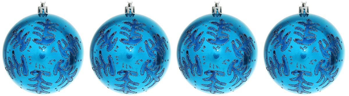 набор новогодних подвесных украшений sima land красная вставка клетка диаметр 8 см 4 шт Набор новогодних подвесных украшений Sima-land Кружевные узоры, цвет: синий, диаметр 9,5 см, 4 шт