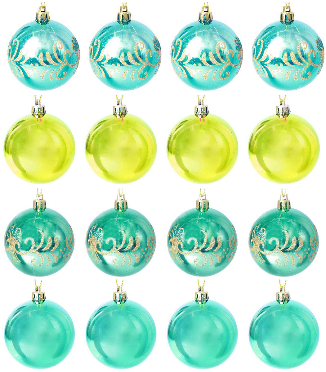 Набор новогодних подвесных украшений Sima-land Зеленый аллюр, диаметр 6 см, 12 шт набор новогодних подвесных украшений sima land ледяной узор диаметр 7 см 6 шт