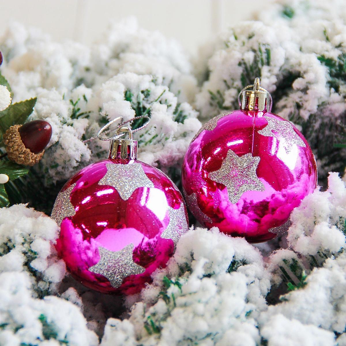 Набор новогодних подвесных украшений Sima-land Яркая звезда, цвет: малиновый, диаметр 6 см, 6 шт набор новогодних подвесных украшений sima land ледяной узор диаметр 7 см 6 шт