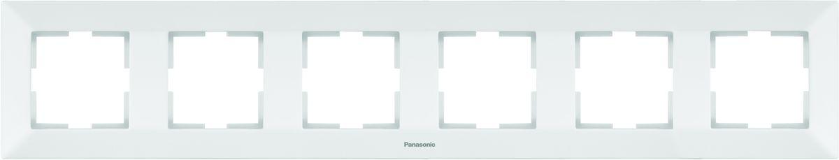 Рамка электроустановочная Panasonic Arkedia, горизонтальная, цвет: белый, на 6 постов. 54761 рамка для розеток и выключателей горизонтальная 1 пост цвет бежевый