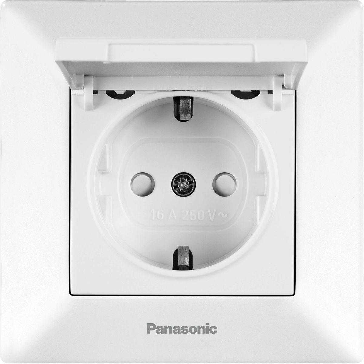Розетка Panasonic Arkedia, одинарная, с заземлением, с крышкой, цвет: белый, 16 А. 54772 розетка simon electric с заземлением цвет белый 16 а 250 в