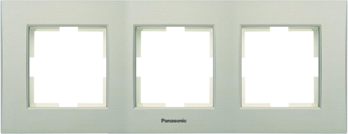 Рамка электроустановочная Panasonic Karre Plus, горизонтальная, цвет: бронзовый, на 3 поста. 54790 рамка для розеток и выключателей горизонтальная 1 пост цвет бежевый