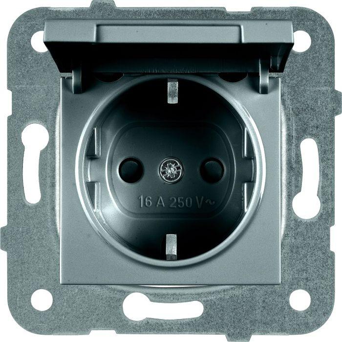Фото - Розетка Panasonic Karre Plus, одинарная, с заземлением, с крышкой, цвет: темно-серый, 16 А. 54859 розетка panasonic karre plus одинарная с заземлением цвет темно серый 16 а 54860