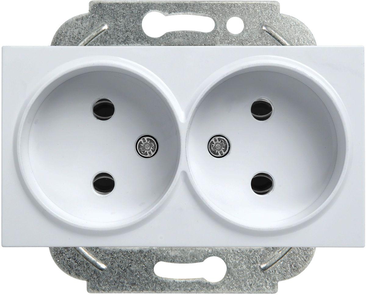 Розетка Panasonic Karre Plus, двойная, без заземления, цвет: серебристый, 16 А. 54875 розетка duwi дельта для скрытой проводки одноместная цвет серебристый