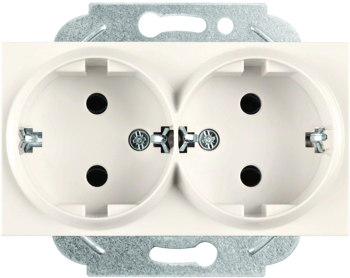 Фото - Розетка-модуль Panasonic Karre Plus, двойная, с заземлением, цвет: кремовый, 16 А. 54891 розетка panasonic karre plus одинарная с заземлением цвет темно серый 16 а 54860