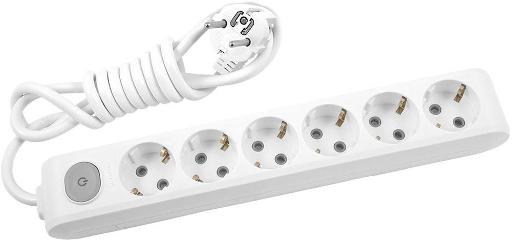 """Удлинитель сетевой Panasonic """"X-tendia"""", с защитой от детей, с выключателем, цвет: белый, 6 розеток, 2 м"""