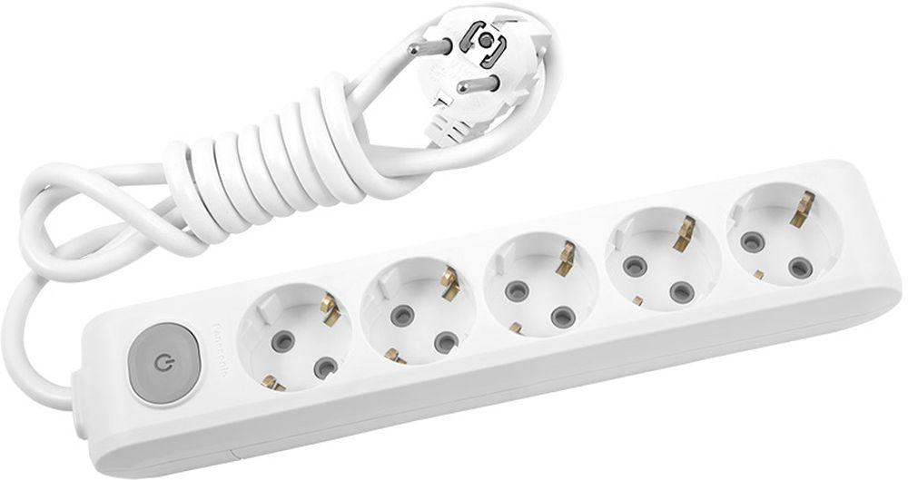 """Удлинитель сетевой Panasonic """"X-tendia"""", с защитой от детей, с выключателем, цвет: белый, 5 розеток, 2 м"""
