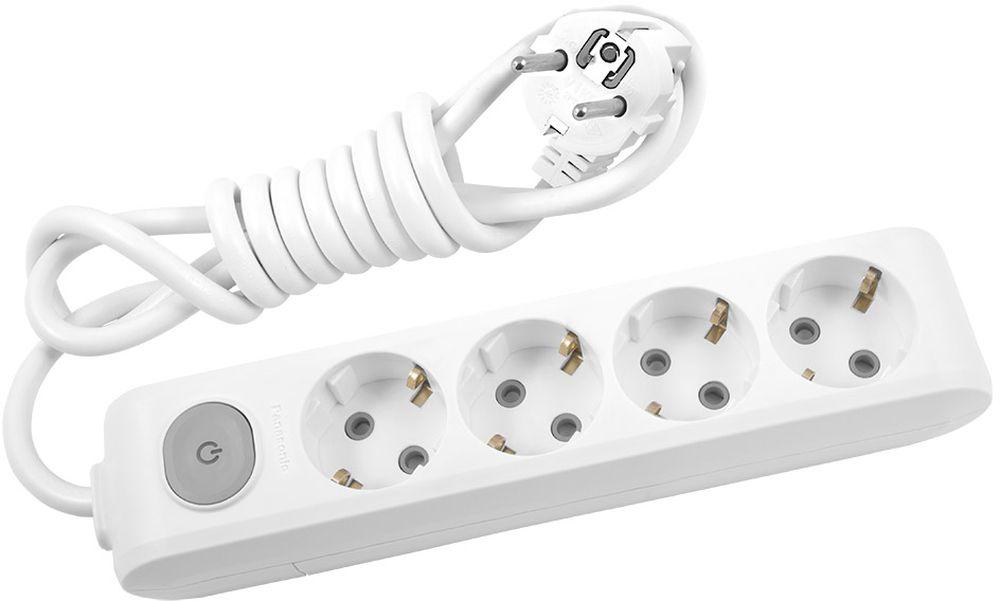 """Удлинитель сетевой Panasonic """"X-tendia"""", с защитой от детей, с выключателем, цвет: белый, 4 розетки, 3 м"""