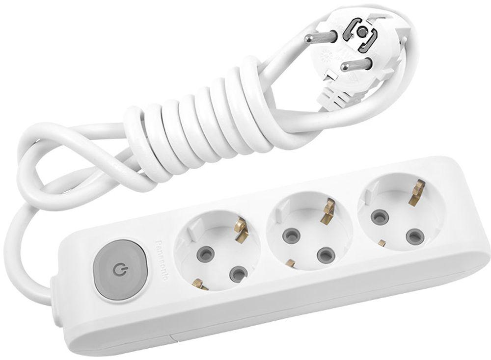 """Удлинитель сетевой Panasonic """"X-tendia"""", с защитой от детей, с выключателем, цвет: белый, 3 розетки, 2 м. 54958"""