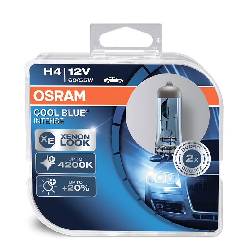 Лампа галогенная Osram H4 Cool Blue Intense 12V, 60/55W, 4200 К, 2 шт
