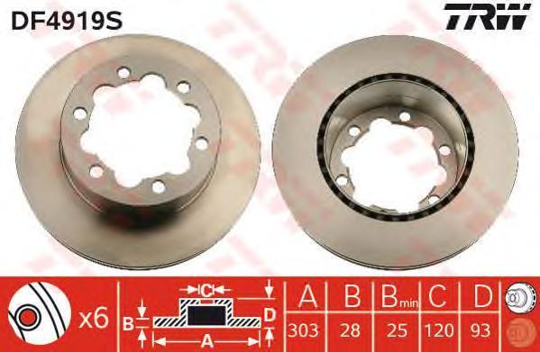 Тормозной диск TRW/Lucas DF4919S, вентилируемый тормозной диск fenox tb219353 задний вентилируемый