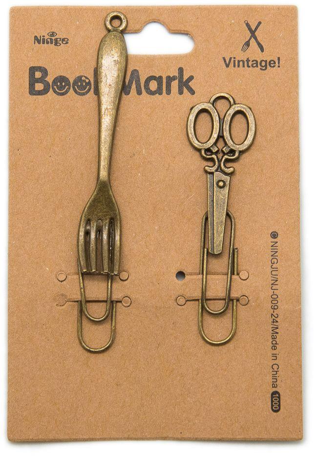 Еж-стайл Закладка Винтаж Ножницы и вилка 2 шт еж стайл закладка винтаж ключ и замок