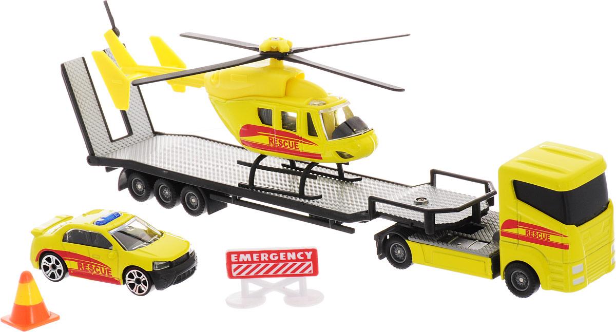 HTI Автотранспортер Roadsterz с машиной и вертолетом Служба спасения