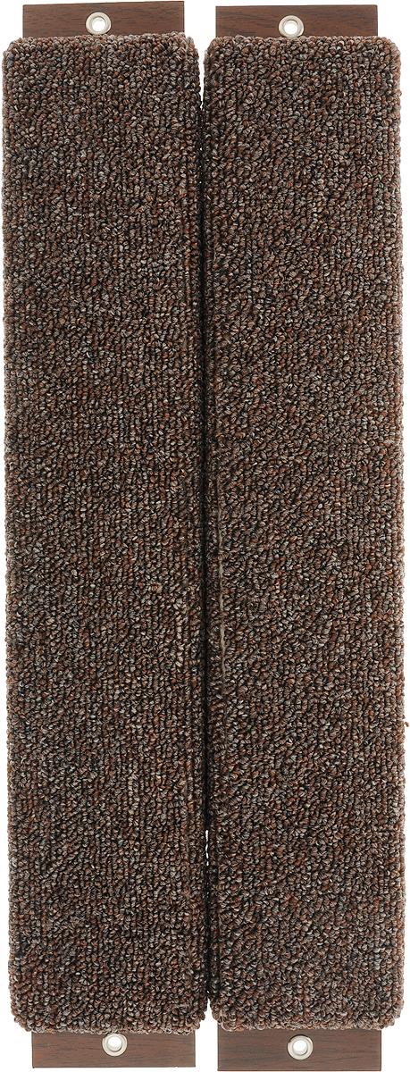 Когтеточка Неженка, угловая, с кошачьей мятой, цвет: коричневый, 51 х 20 х 2,5 см когтеточка угловая неженка с кошачьей мятой цвет темно серый коричневый 68 х 30 х 2 5 см