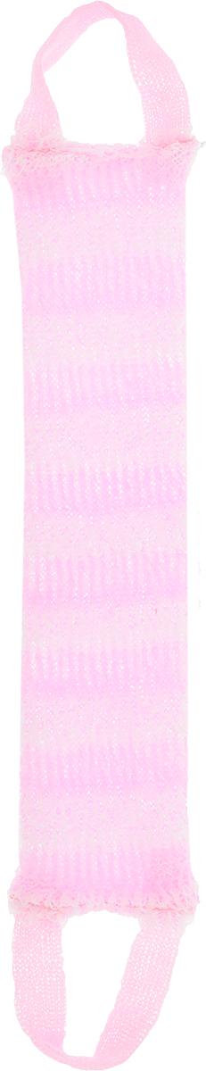 Мочалка Eva Букле. Полосы, вязаная, с ручками, цвет: розовый мочалка eva букле полосы вязаная с ручками цвет розовый