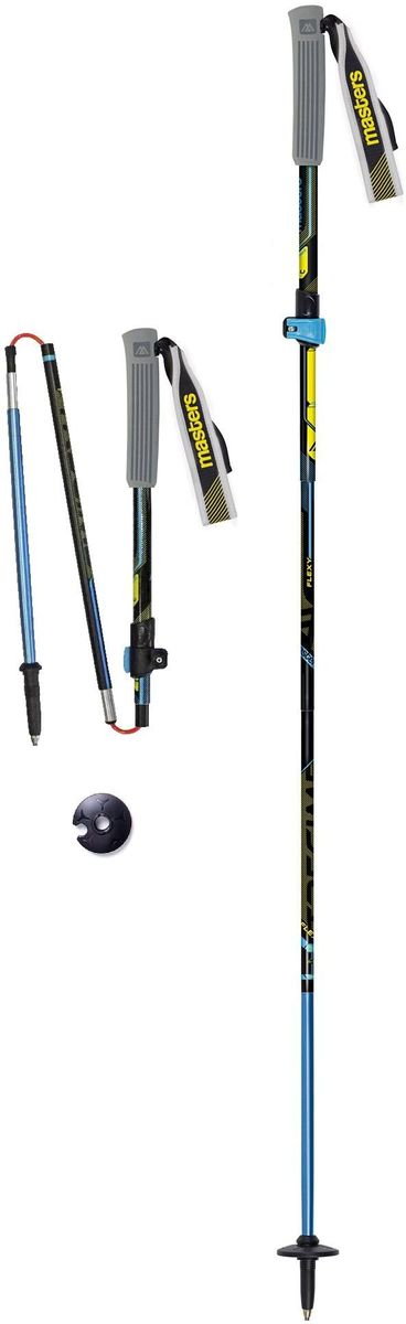 Палки для трекинга Masters Expert Trail. Trecime Alu, телескопические, складные, цвет: черный, 35-135 см