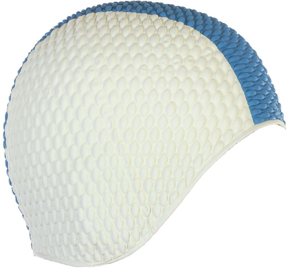 Шапочка для плавания Larsen Бабл-кап, цвет: белый, синий шапочка для плавания larsen цвет белый красный ls76