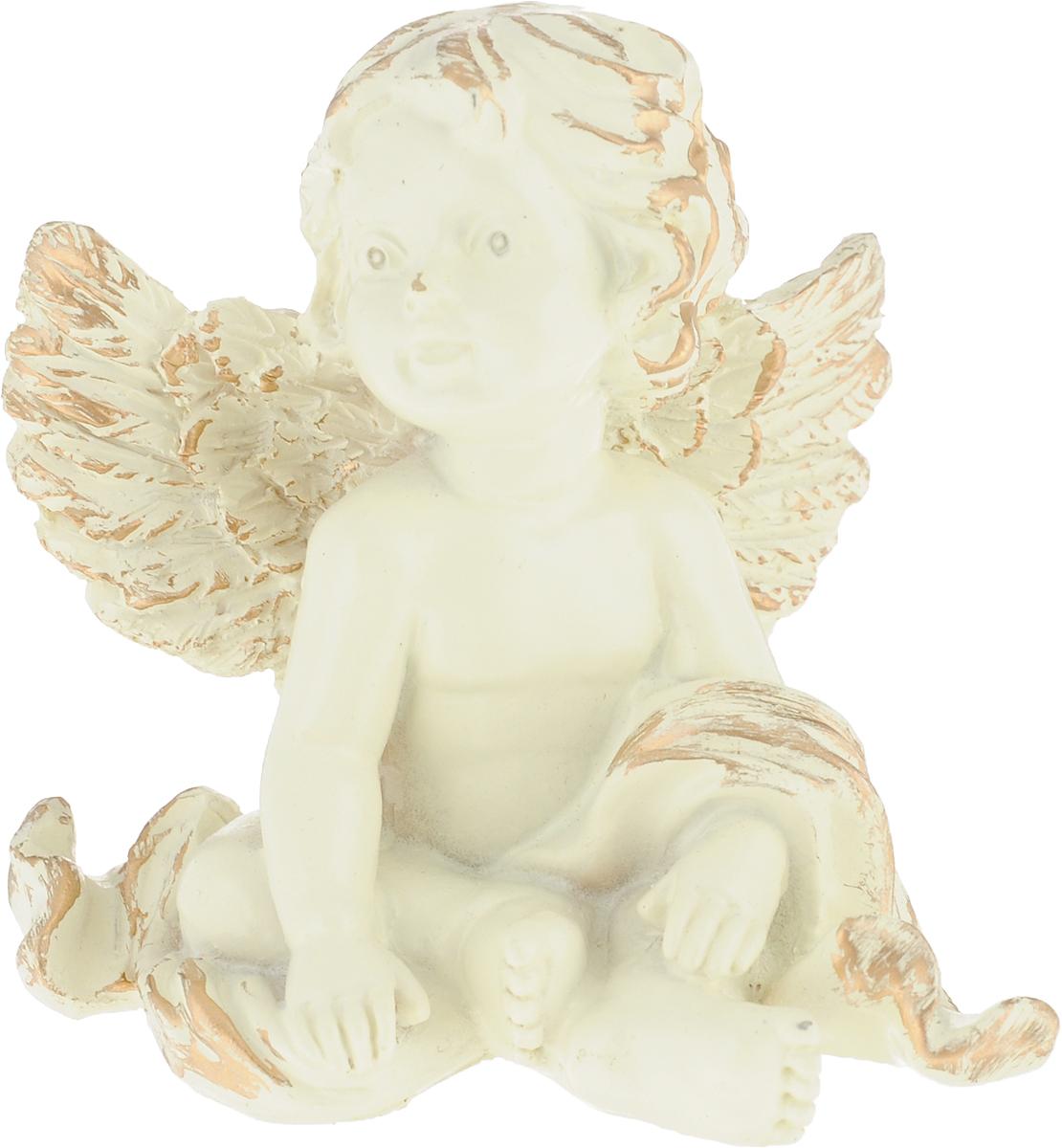 Фигурка декоративная Magic Home Задумчивый ангел, цвет: слоновая кость, золотой, 6,5 х 7 х 5,5 см цена