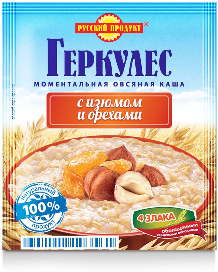 Русский продукт Геркулес овсяная каша с изюмом и орехами, 30 шт по 40 г русский продукт геркулес овсяная каша с клубникой 30 шт по 35 г