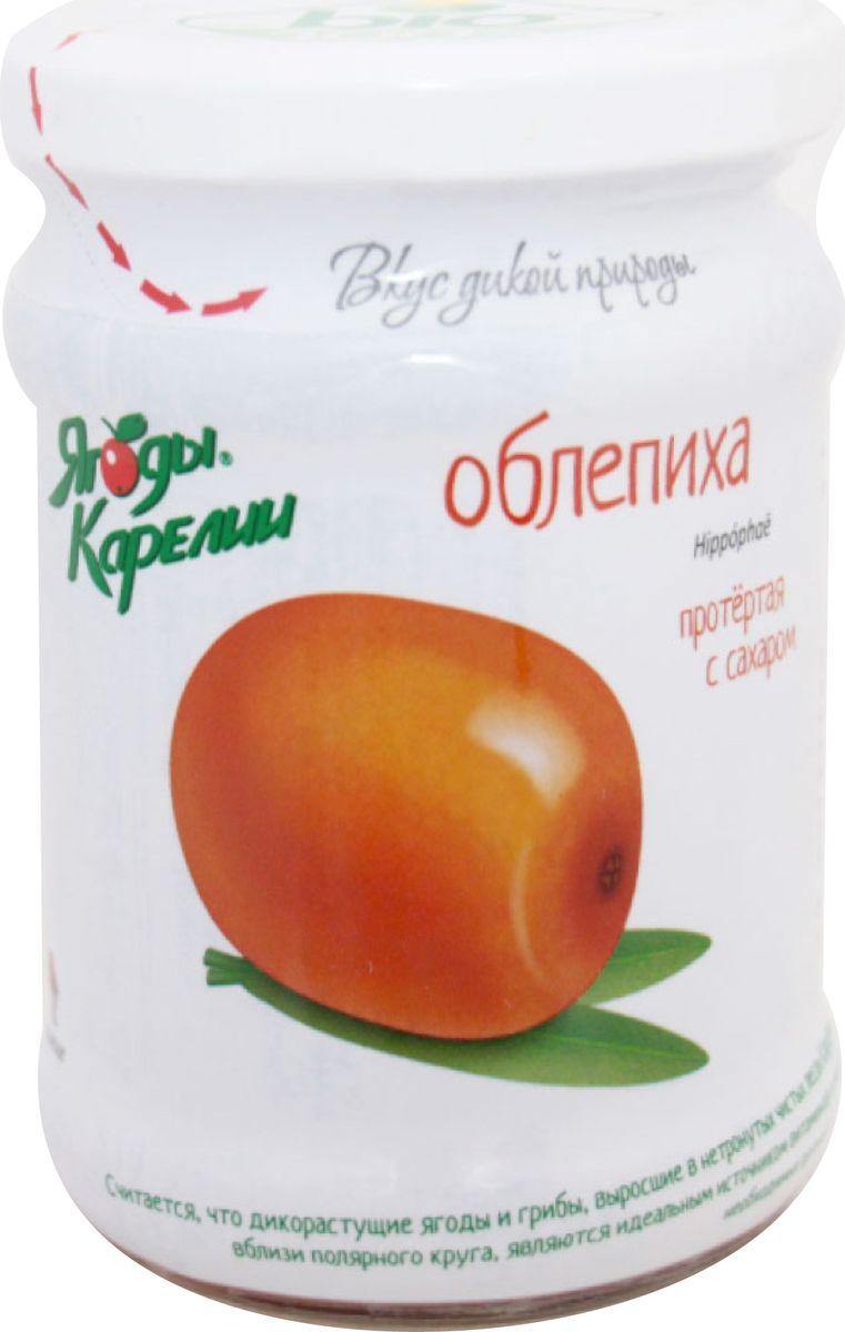 Ягоды Карелии облепиха протертая с сахаром, 280 г ягоды карелии черноплодная рябина протертая с сахаром 280 гр
