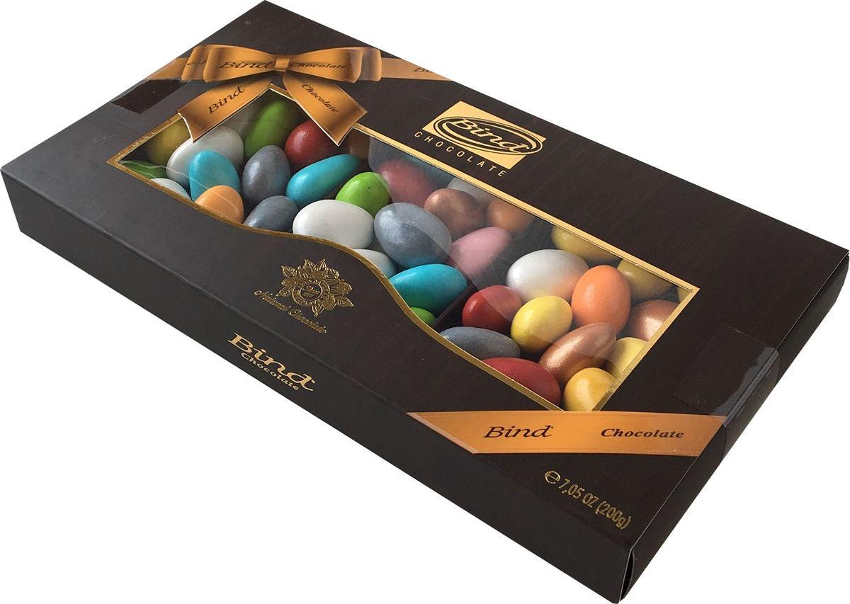 Bind миндаль в шоколаде в разноцветной глазури драже, 200 г skittles фрукты драже в сахарной глазури 12 пачек по 38 г