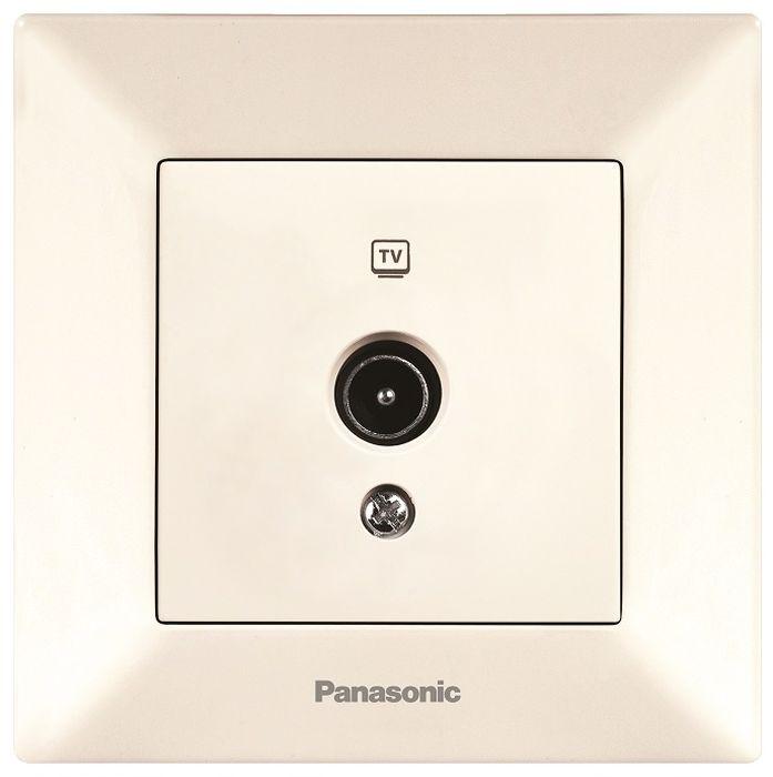 Розетка телевизионная Panasonic Arkedia, проходная, цвет: кремовый. 54741 розетка abb bjb basic 55 шато 2 разъема с заземлением моноблок цвет чёрный